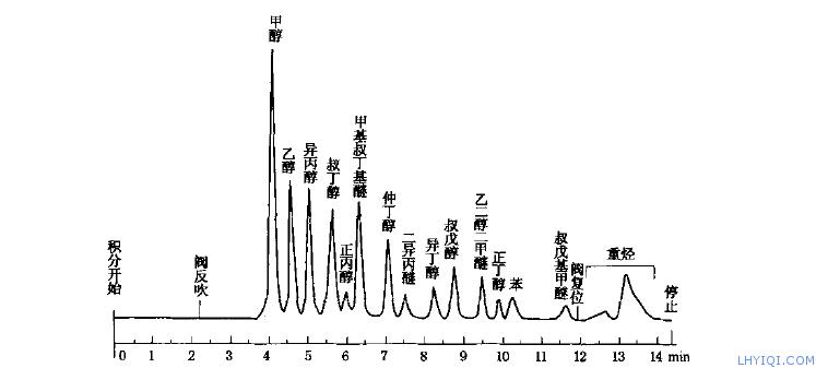 汽油中某些醇类和醚类气相色谱仪检测图